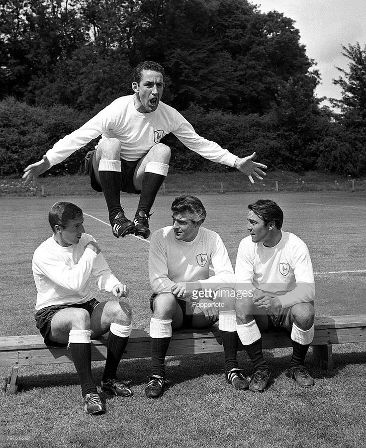 Sport, Football, Cheshunt, Hertfordshire, England, 31st October 1962, Tottenham Hotspur's Dave Mackay jumps over team mates Cliff Jones, Ron Henry and Jimmy Greaves at the Spurs training ground  (Photo by Popperfoto/Getty Images)