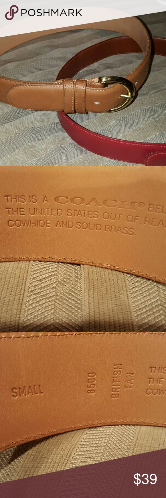 COACH British Tan Belt 8500 Very good condition.  Size small. 30 inches long. Coach Accessories Belts