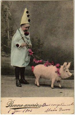 "Yes, I can just hear the parents "" Lets dress him as a clown and have him hold the pig!"""