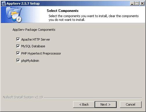 4. เลือก Package Components ที่ต้องการ - Apache HTTP Server คือ โปรแกรมที่ทำหน้าเป็น Web Server - MySQL Database คือ โปรแกรมที่ทำหน้าเป็น Database Server  - PHP Hypertext Predecessor คือ โปรแกรมที่ทำหน้าประมวลผลการทำงานของภาษา PHP  - phpMyAdmin คือ โปรแกรมที่ใช้ในการบริหารจัดการฐานข้อมูล MySQL ผ่านเว็บบราวเซอร์