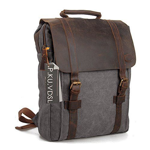 """Gootium Canvas Backpack Sac à dos loisir pour ordinateur portable 15.6"""" en lin & cuir Homme/Femme - Gris"""