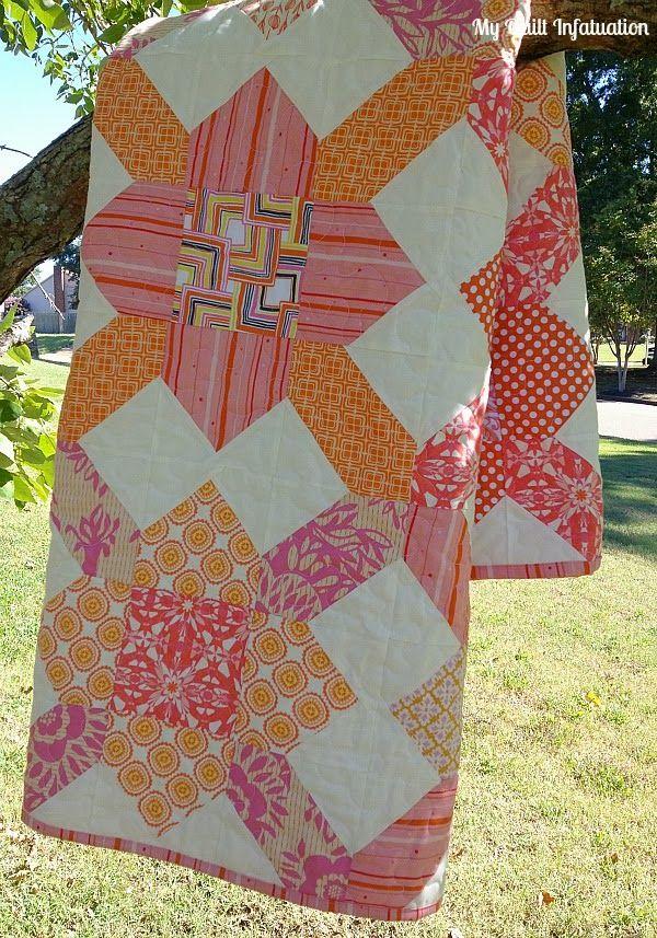 My Quilt Infatuation: Grapefruit Fizz (with links to quilt block pattern & quilt label tutorial)