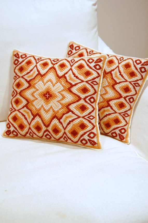 Pair of VTG Bargello Needlepoint Pillows by 5thstreetbazaar, $79.00