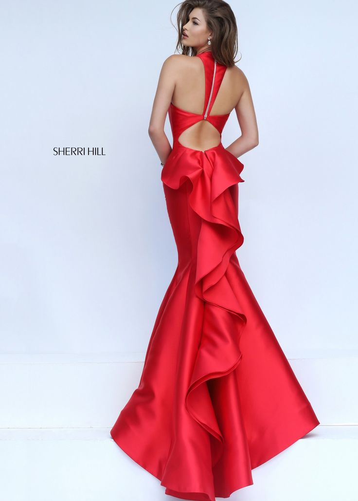 Sherri Hill 50195 Stylish Red Ruffled Open Back Mermaid Gown