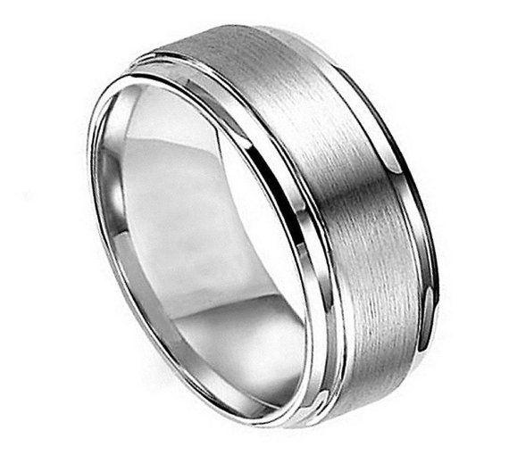 mens wedding ring mens titanium wedding band mens wedding band titanium mens titanium ring 9mm stepped edge brushed center titanium ring