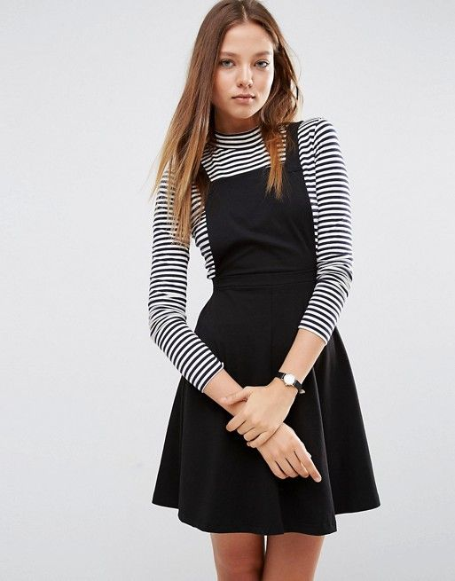 ASOS | ASOS Pinafore Dress Stretch jersey Square neckline Classic pinafore design Cross-over straps A-line skirt Regular fit - true to size Machine wash 96% Cotton, 4% Elastane