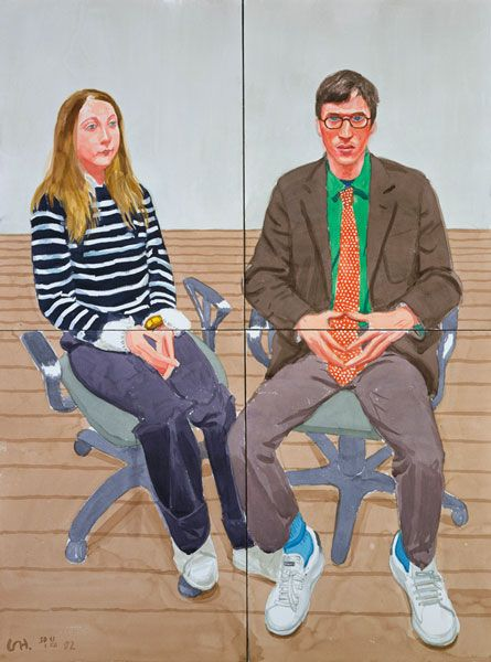 Arcadia Fletcher and Robin Katz by David Hockney 2002 watercolor on paper (4 sheets), 54 1/4 x 42 3/8 in
