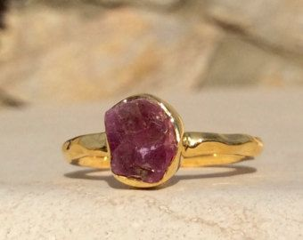 Raw ruby ring Red ruby crystal ring Real Ruby ring by HAWKHOUSE