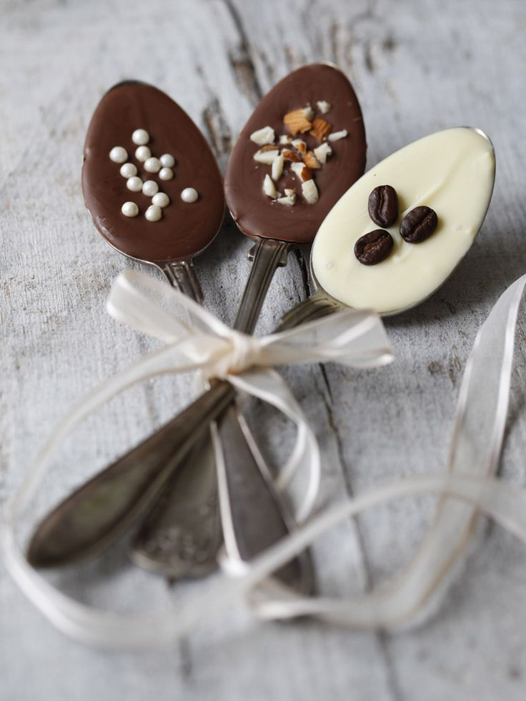 use inexpensive spoons from rummage sales/thrift stores. Dip in melted chocolate/toppings, wrap in plastic, add a ribbon, tie to cute coffee mug....and there you go-
