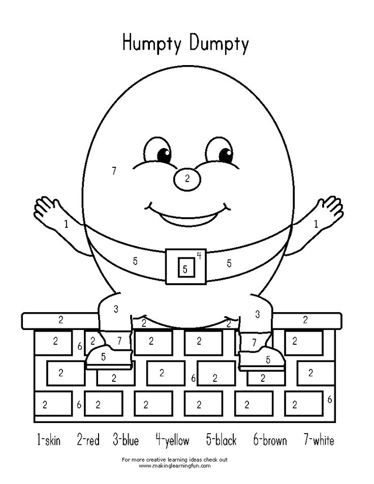 education humpty dumpty coloring pages