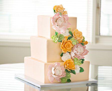 Brides Magazine: Peach Wedding Cake with Sugar-Flower Cascade by Bakermama