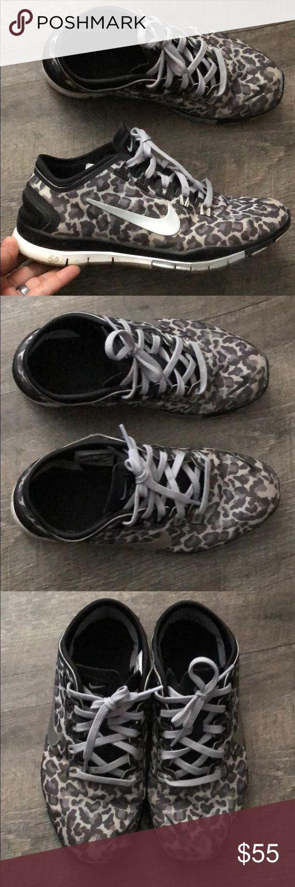 Nike leopard print shoes Preloved but still has a lot of life left Nike Shoes Athletic Shoes