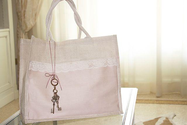 borse in juta personalizzate decorate fai da te shabby chic style