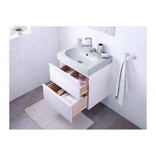 Ikea Badezimmermöbel Waschbeckenschrank ~  Sink cabinet with 2 drawers  high gloss whitelight gray  IKEA $409