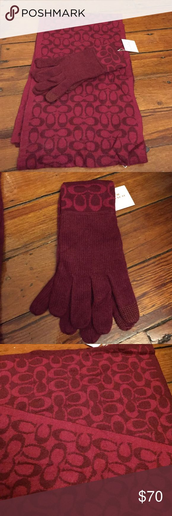 Coach scarf & gloves set! Two toned burgundy NWT!! Gorgeous NWT Coach scarf and gloves set! Selling both together for great price! The gloves have touch screen fingers. Scarf is two toned with lighter burgundy on one side and darker burgundy on the other! Coach Accessories Scarves & Wraps