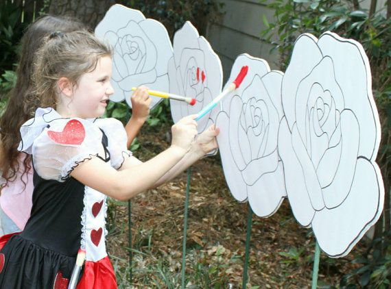 Paintable white roses/ alice in wonderland party craft/game