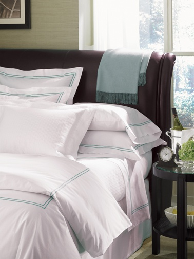SFERRA's Grande Hotel collection is available in every bedding element, from sheets and cases to duvets and shams--in 14 different colors of two-line embroidered stitching.