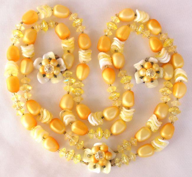Hong Kong Golden Yellow Potato Chip Floral Necklace Earring Set- Summer Fun!