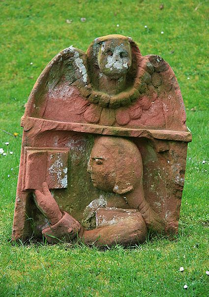 Book lover's Headstone at Dryburgh Abbey, near St. Boswells , Scottish Border.  Post - Medieval