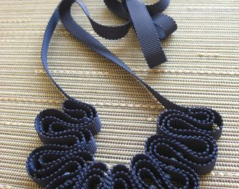 Navy blue grosgrain and glass bead necklace SALE