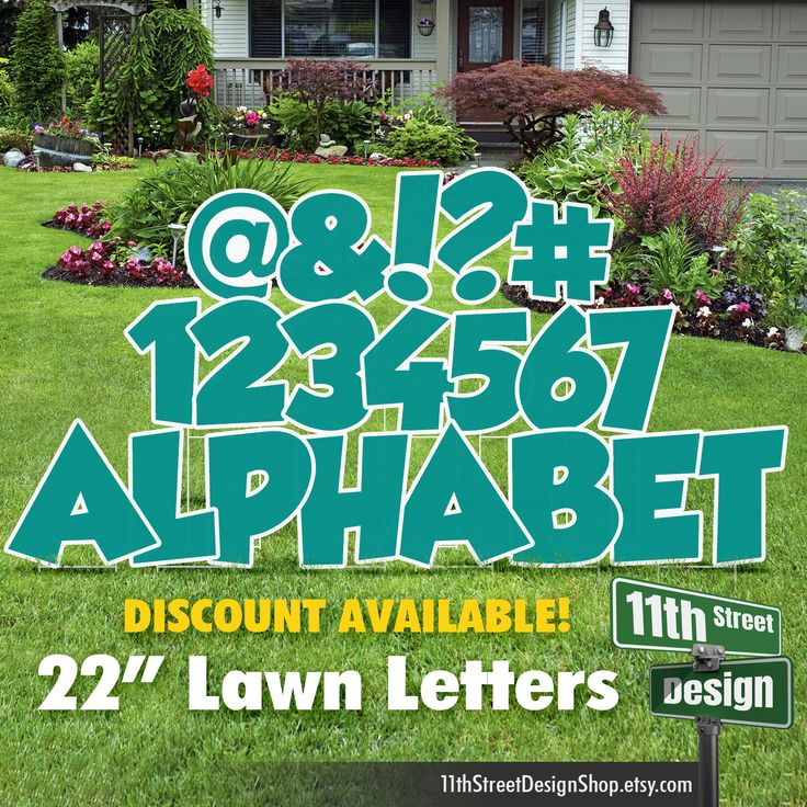 22 Teal Lawn Letter Yard Signs Full Alphabet 22 Etsy Yard Cards Yard Signs Happy Birthday Yard Signs