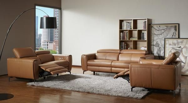 London Motion Sofa Set in Caramel | Modern recliner sofa