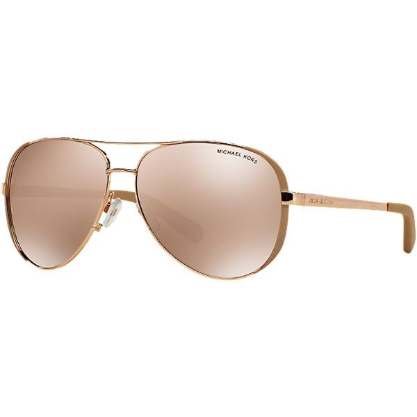 Michael Kors Mk5004 59 Chelsea Rose Gold Aviator Sunglasses ($99) ❤ liked on Polyvore
