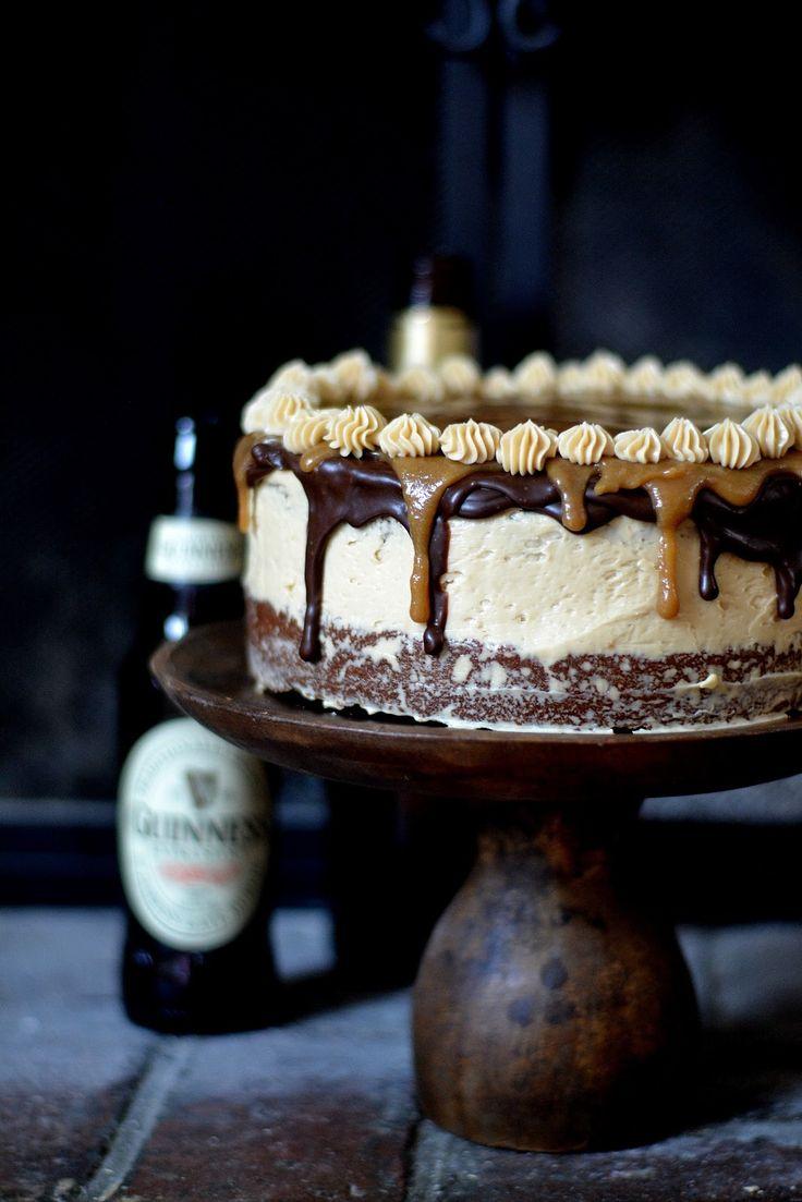 Bakeaholic Mama: Drunken Irish Cake, Layers of Chocolate Stout Cake and Whiskey Italian Meringue Butter Cream, topped with Chocolate Stout Ganache and Whiskey Caramel Sauce