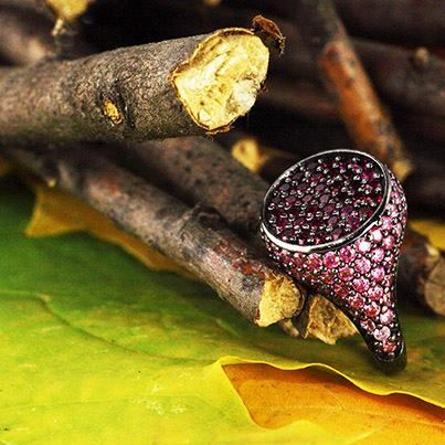 Red Passion,silver ring whit Swarovski Zirconia Made in Italy www.blooblood.com