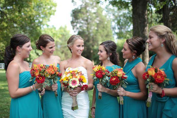 teal bridesmaid dresses (photo by Landon Jacob)