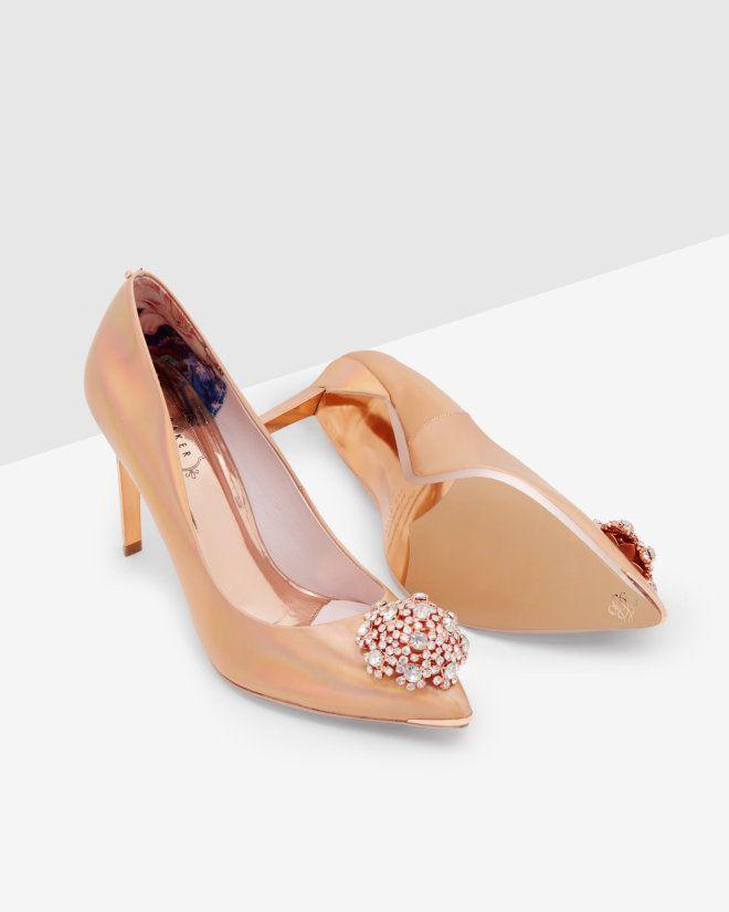 BROOCH DETAIL COURT - Rose Gold | Shoes | Ted Baker