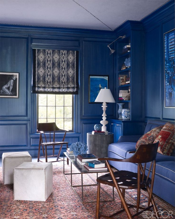 living room in blue%0A Blue walls  painted paneling  Blue Living RoomsBlue