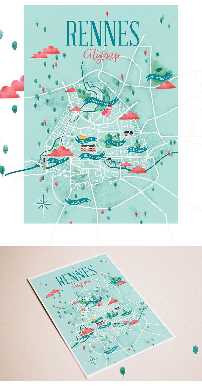 Rennes City map on Behance