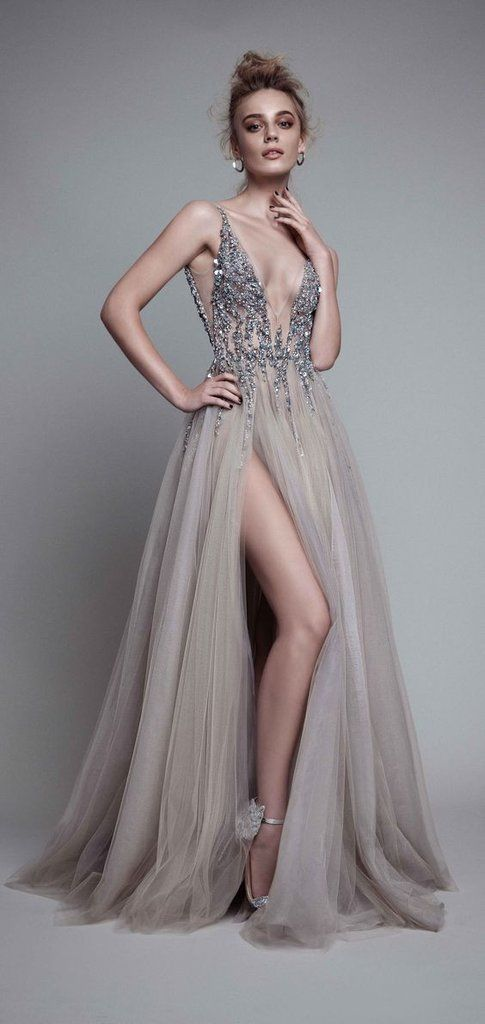 fdcf33ec542d D278 Sexy V Neck Side Slit Handmade Beaded Long Prom Gowns, Backless Long  Evening Gowns
