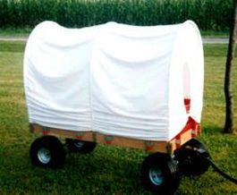 Flyer into a Covered Wagon...tent rods and muslin
