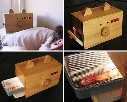 Wake'n Bacon!!!  Is this the greatest invention since sliced bread? Well, for meat eaters, perhaps. The Wake N' Bacon is an alarm clock that 'wakes you up with the smell of cooking bacon instead of a buzzer'. Yes, that's right: 'The aroma wakes you up, then you can open the oven component and eat the bacon itself'. Brilliant! Now, if it could only perculate a pot of coffee too.