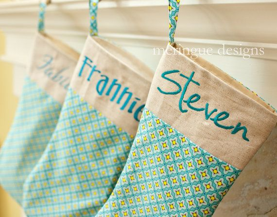 Turquoise Personalized Christmas Stocking (now sold on meringue designs, etsy)