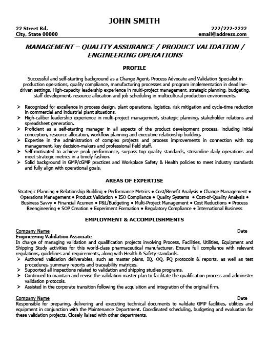 Quality Manager | 4-Resume Examples | Pinterest | Sample resume ...