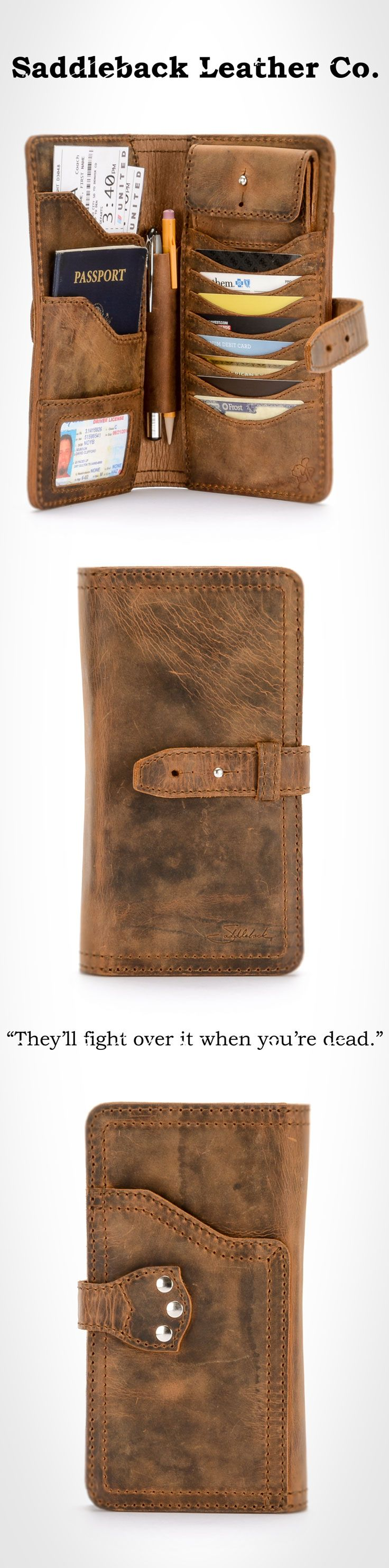 The Saddleback Leather Big Wallet in Tobacco | 100 Year Warranty | $178.00 | Raddest Men's Fashion Looks On The Internet: http://www.raddestlooks.org