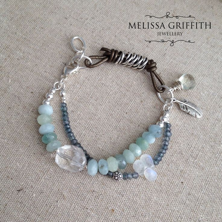 Pale Palette Bracelet (MGB76) $115.00 In a palette both soft and soothing, aquamarine has been combined with green topaz, moonstone, quartz, and green amethyst. A one of a kind piece made with sterling silver components and metallic copper leather. Lobster clasp closure includes three oval links for the perfect fit.