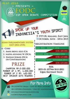 #LombaDebat #EnglishDebateCompetition #EGP #OpenDebateCompetition #UB #Malang English Debate Competition 2015 2nd EGP Open Debate Competition  DEADLINE: September 30th, 2015  http://infosayembara.com/info-lomba.php?judul=english-debate-competition-2015-2nd-egp-open-debate-competition