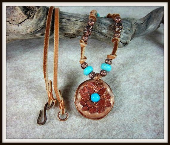 Southwestern Necklace Clay with Turquoise by Barbarasartistry