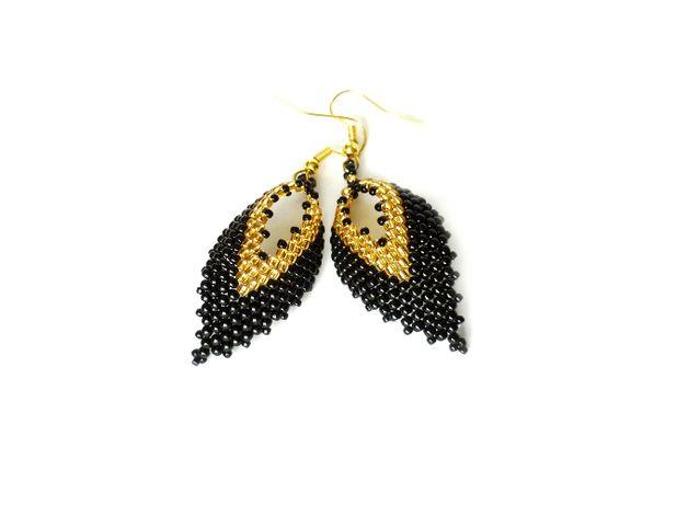 Russian Leaf kolczyki listki czarno-złote - Projektownia - Kolczyki wiszące  #russianleaf #russianleaves #peyote #earrings