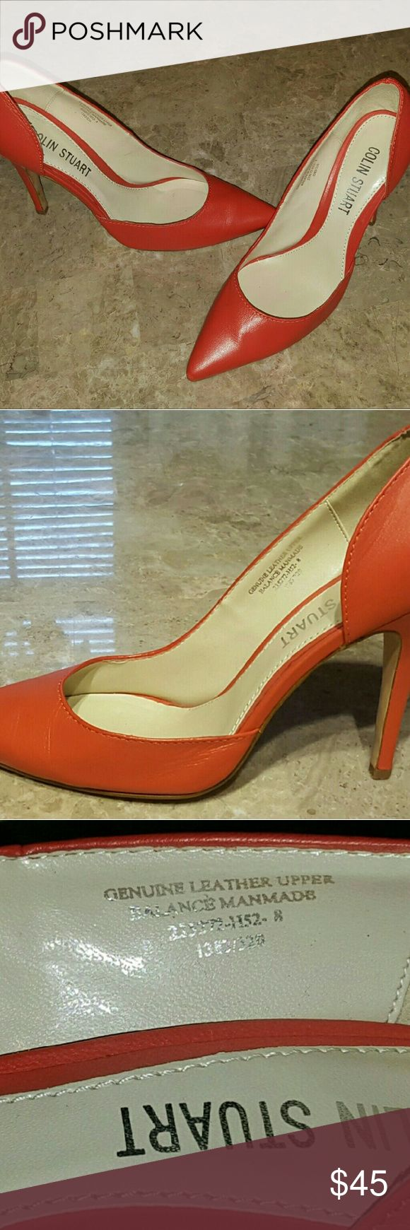 Colin Stuart for Victoria's Secret 8m Orange Heels Slip into these bright orange stilettos and add a pop of color to your outfit...the perfect pair for your vintage or modern look, these heels never go out of style! Size 8m, genuine leather upper. Only worn once and only selling because they no longer fit after baby :) Colin Stuart Shoes Heels