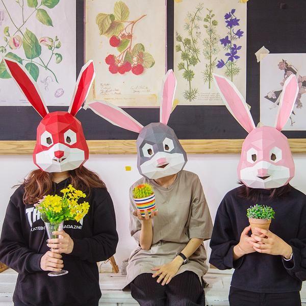 f4b73e9ab1245 Animal Cute Rabbit Head Mask DIY Live Performance Props | 2018 ...