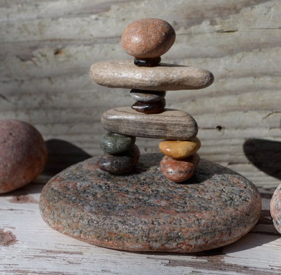 COLORFUL INUKSHUK, rock inukshuk, pebble art, pebble inukshuk, rock art, stone art, stone inukshuk, great lakes rocks, canadian made,