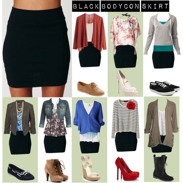 Black Bodycon Skirt Outfits