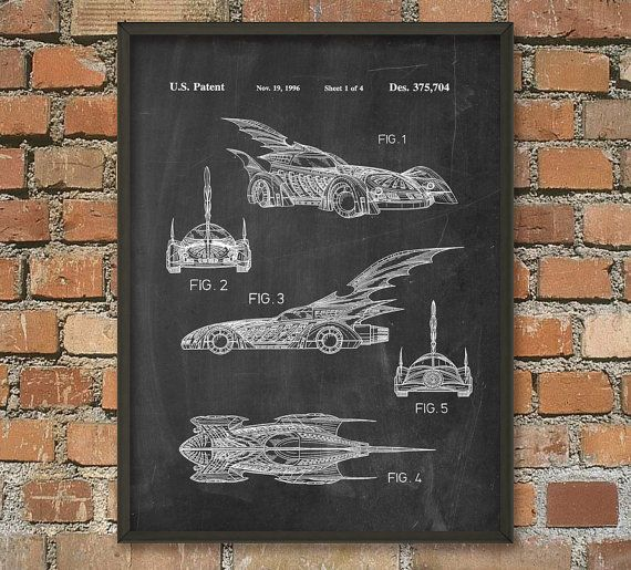 Batman Batmobile Patent Wall Art Poster by QuantumPrints on Etsy, £4.00