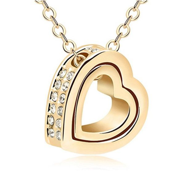 Double Love Heart Shape Pendant Necklace, Crystal From Swarovski Elements