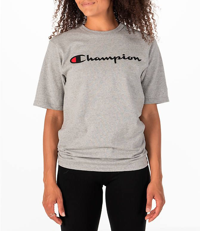 bee15123581 Front view of Women s Champion Heritage HBR T-Shirt in Oxford Grey